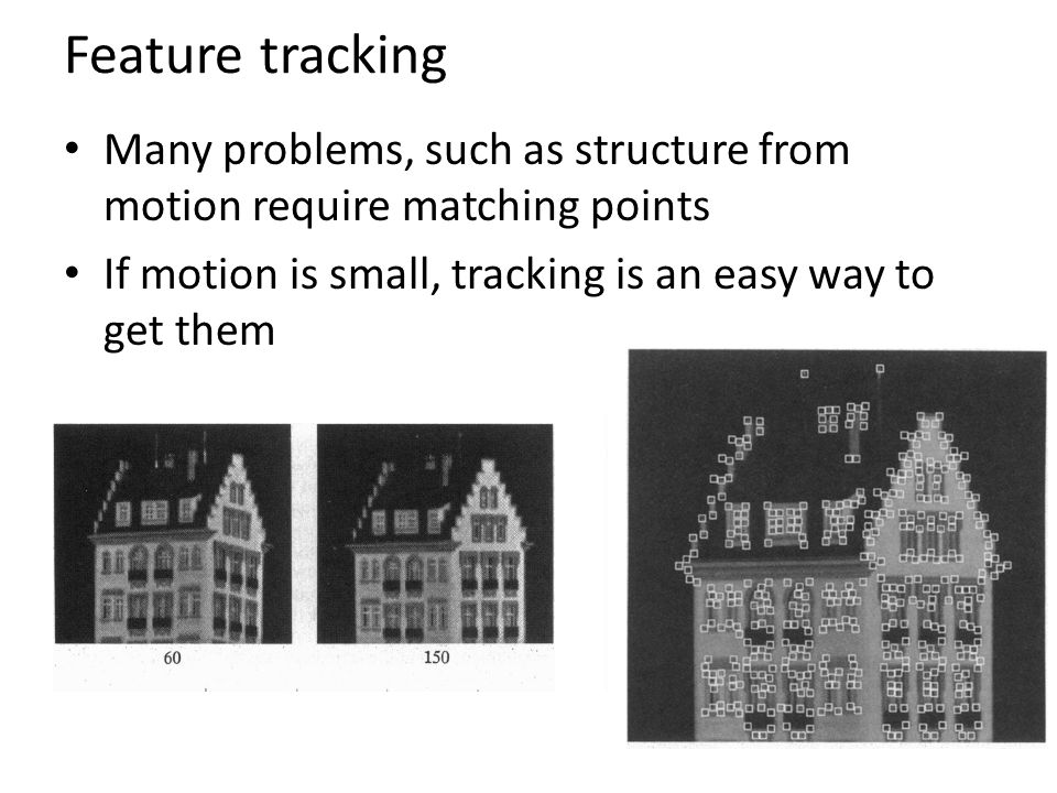 Feature tracking Many problems, such as structure from motion require matching points If motion is small, tracking is an easy way to get them