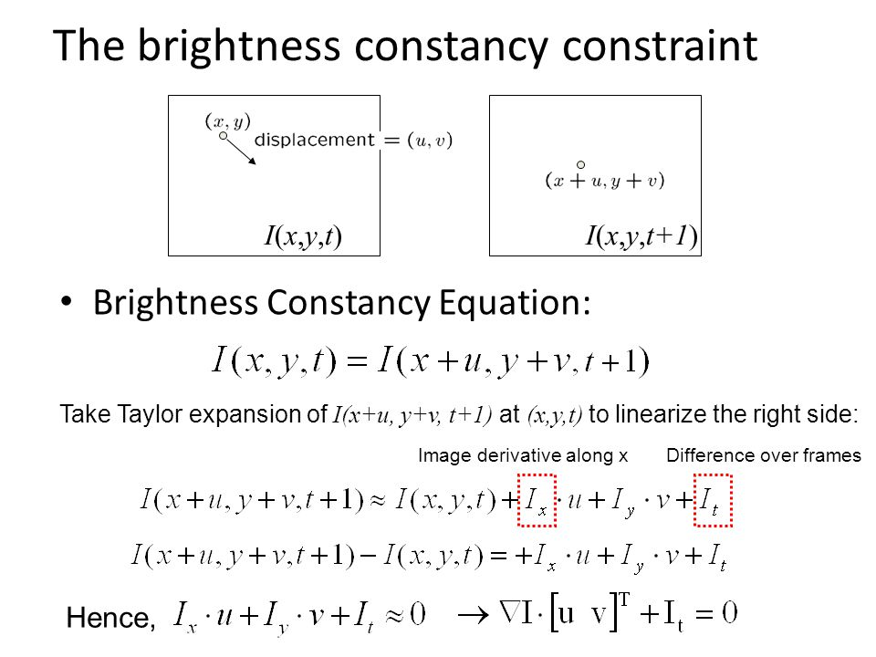 Brightness Constancy Equation: Take Taylor expansion of I(x+u, y+v, t+1) at (x,y,t) to linearize the right side: The brightness constancy constraint I