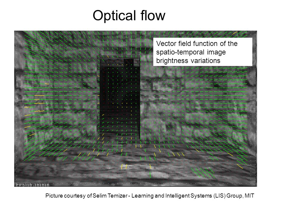 Picture courtesy of Selim Temizer - Learning and Intelligent Systems (LIS) Group, MIT Optical flow Vector field function of the spatio-temporal image