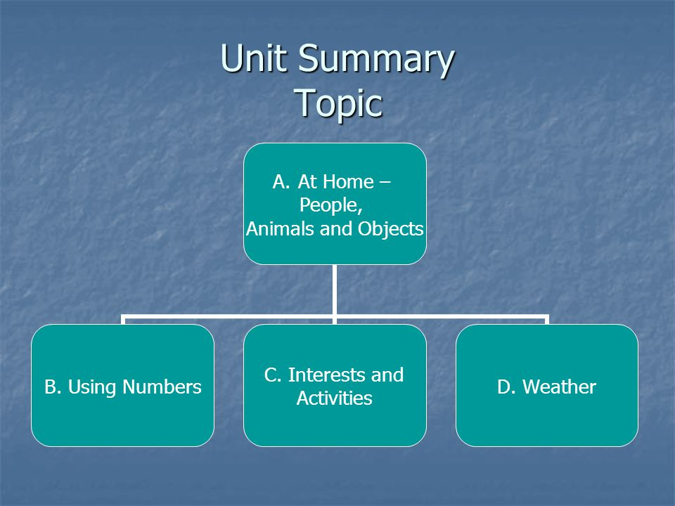 Unit Summary Topic A.At Home – People, Animals and Objects B. Using Numbers C. Interests and Activities D. Weather