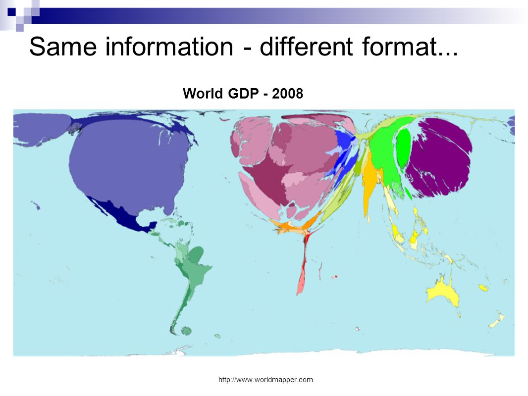 Same information - different format... http://www.worldmapper.com World GDP - 2008