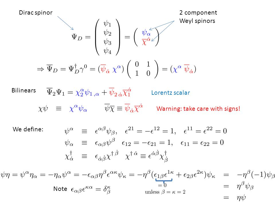 Dirac spinor2 component Weyl spinors We define: Note Bilinears Lorentz scalar Warning: take care with signs!