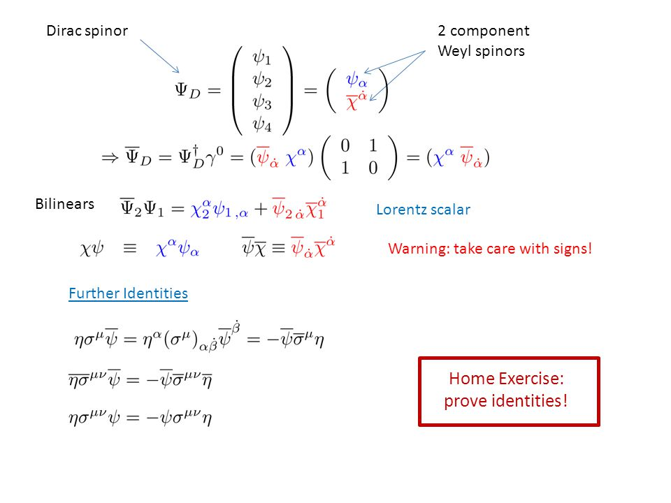 Bilinears Lorentz scalar Dirac spinor2 component Weyl spinors Warning: take care with signs.