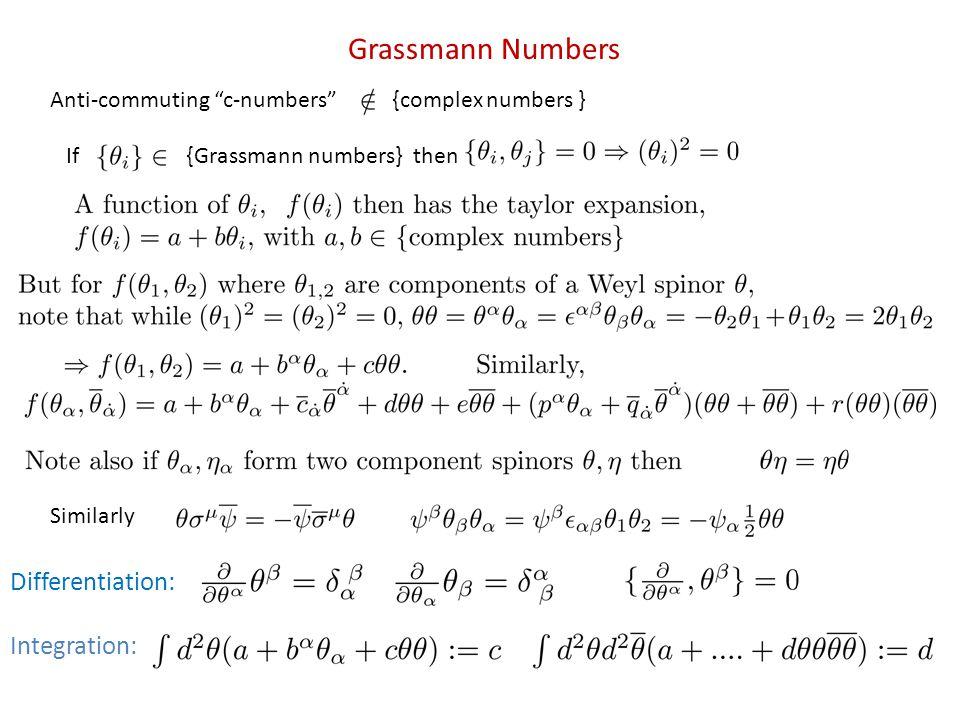 Grassmann Numbers Anti-commuting c-numbers {complex numbers } If{Grassmann numbers} then Similarly Differentiation: Integration: