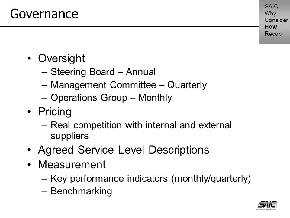 Governance Oversight –Steering Board – Annual –Management Committee – Quarterly –Operations Group – Monthly Pricing –Real competition with internal an