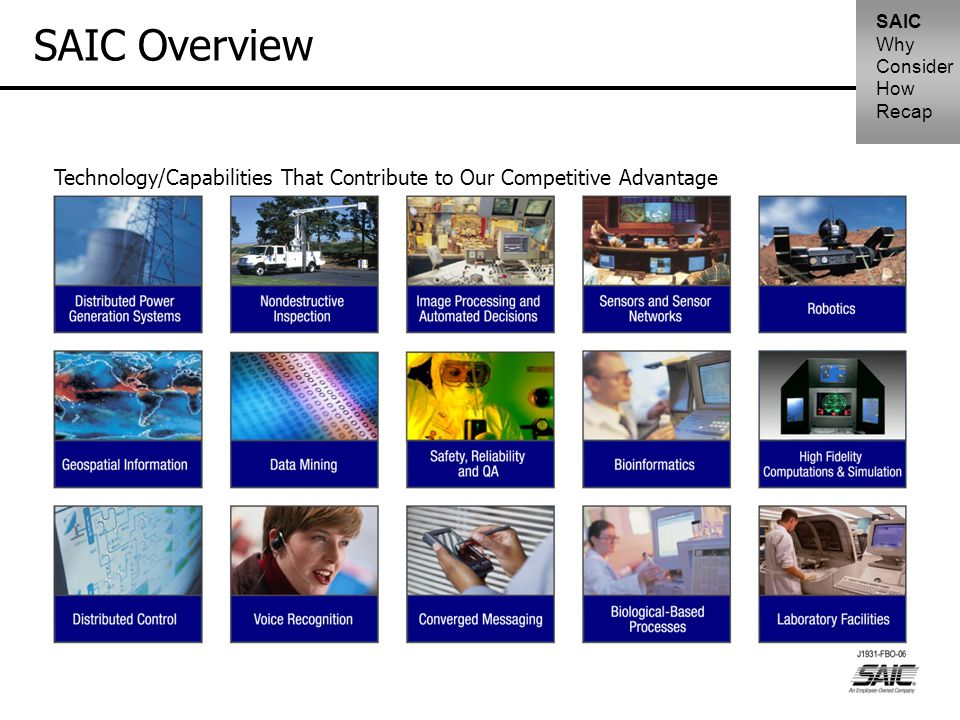 SAIC Overview Technology/Capabilities That Contribute to Our Competitive Advantage SAIC Why Consider How Recap