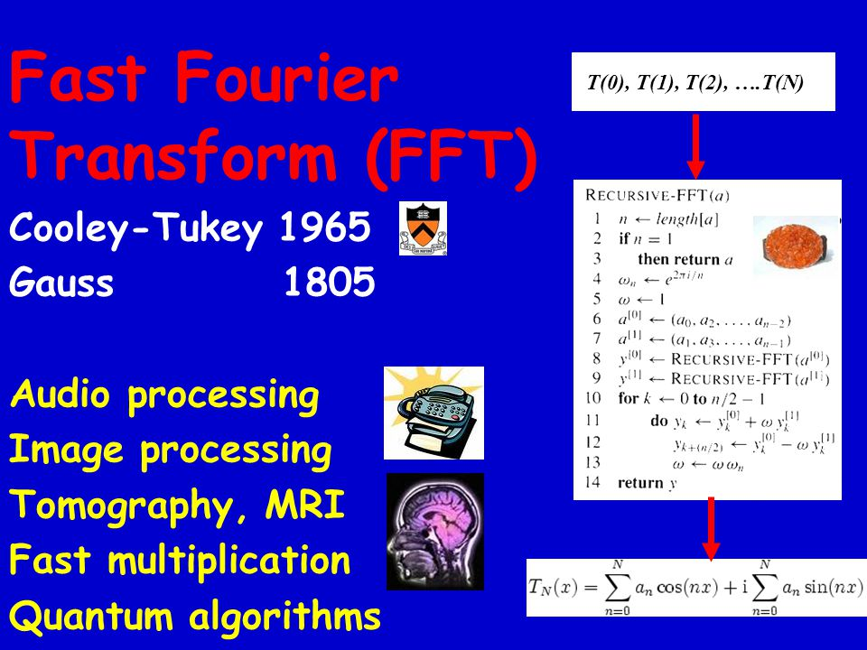Fast Fourier Transform (FFT) Cooley-Tukey 1965 Gauss 1805 Audio processing Image processing Tomography, MRI Fast multiplication Quantum algorithms T(0), T(1), T(2), ….T(N)