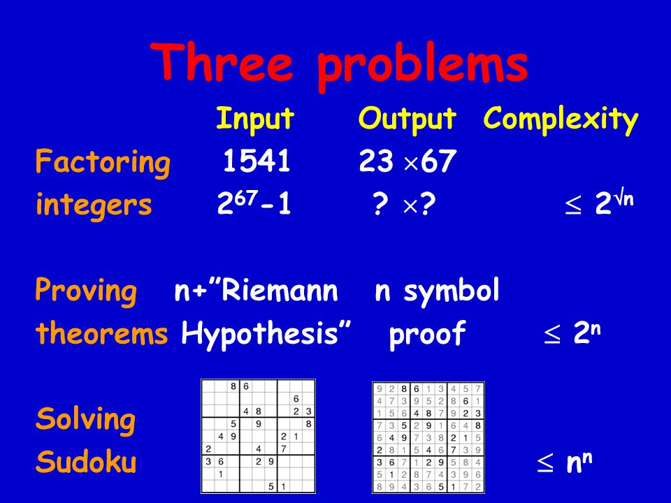 Three problems Input Output Complexity Factoring 1541 23  67 integers 2 67 -1 .