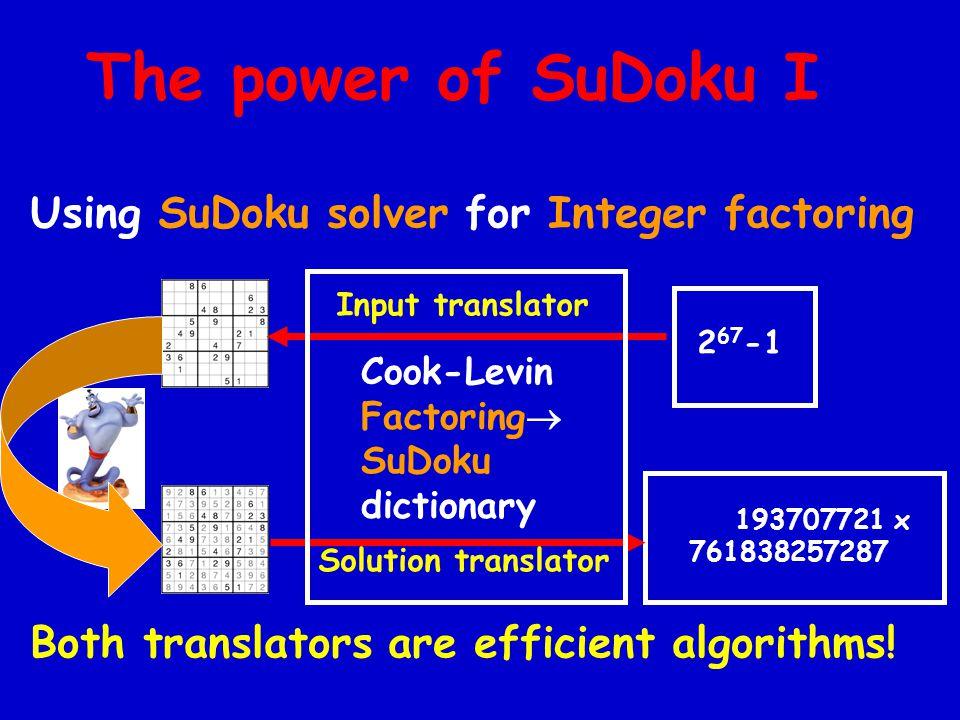 The power of SuDoku I Using SuDoku solver for Integer factoring Both translators are efficient algorithms.