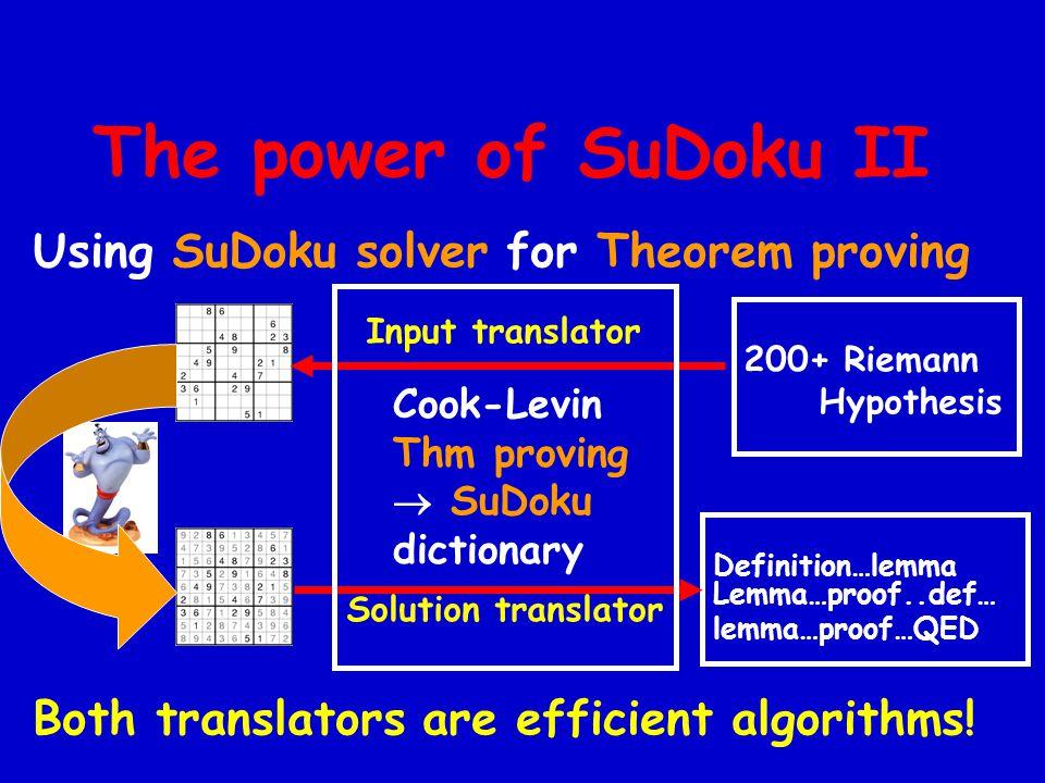 The power of SuDoku II Using SuDoku solver for Theorem proving Both translators are efficient algorithms.