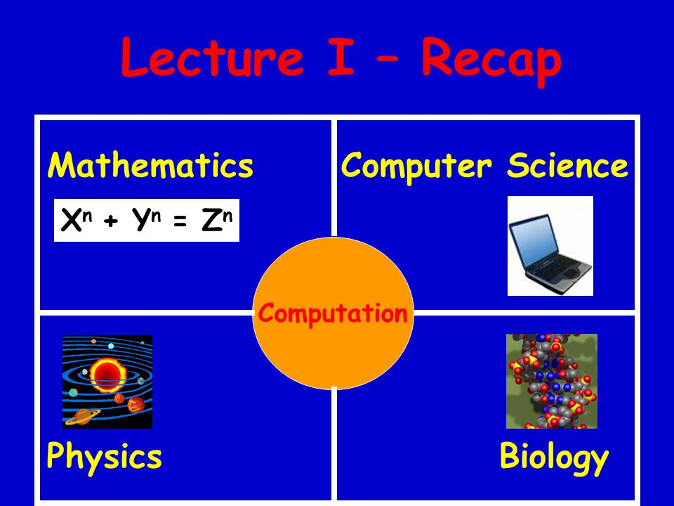 Lecture I – Recap Mathematics Computer Science Physics Biology Computation X n + Y n = Z n