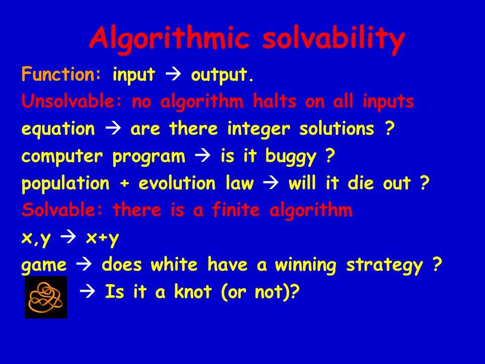 Algorithmic solvability Function: input  output.