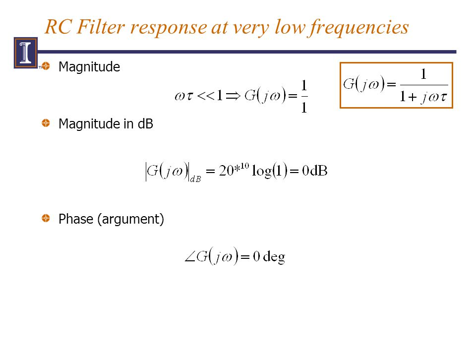 RC Filter response at very low frequencies Magnitude Magnitude in dB Phase (argument)