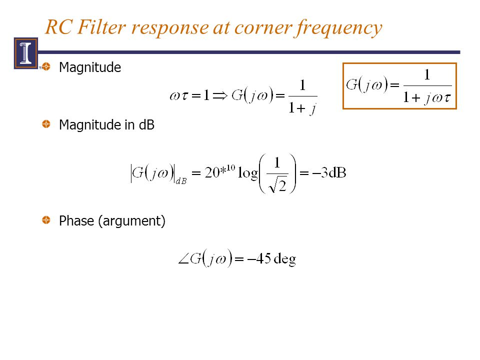 RC Filter response at corner frequency Magnitude Magnitude in dB Phase (argument)