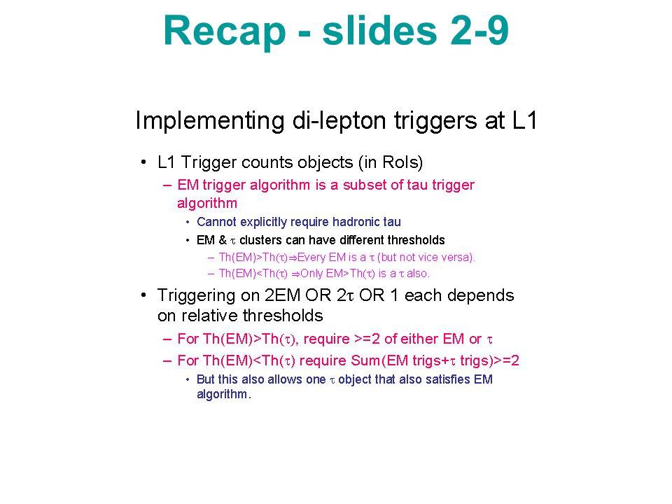 Other Info Signal cone:R=0.07 Inner cone:R=0.1 Outer cone:R=0.4 Pt(track)>5.0 Et-thresh=25.GeV Tau-thresh=15GeV Scenario1: <=4 && 0 Scenario2: <=3 && 0 Scenario3: <=3 && <=1 Scenario4: <=2 && 0 Scenario5: <=2 && <=1 Scenario6: <=2 && <=2 Scenario7: <=1 && 0 Scenario8: <=1 && <=1 Scenario9: <=1 && <=2
