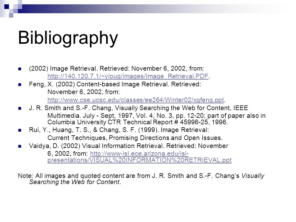 Bibliography (2002) Image Retrieval.