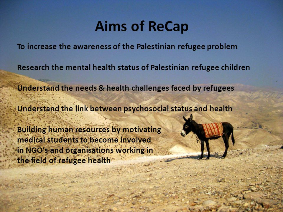 Aims of ReCap To increase the awareness of the Palestinian refugee problem Research the mental health status of Palestinian refugee children Understand the needs & health challenges faced by refugees Understand the link between psychosocial status and health Building human resources by motivating medical students to become involved in NGO's and organisations working in the field of refugee health