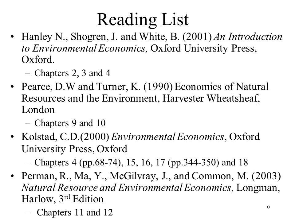 6 Reading List Hanley N., Shogren, J. and White, B.