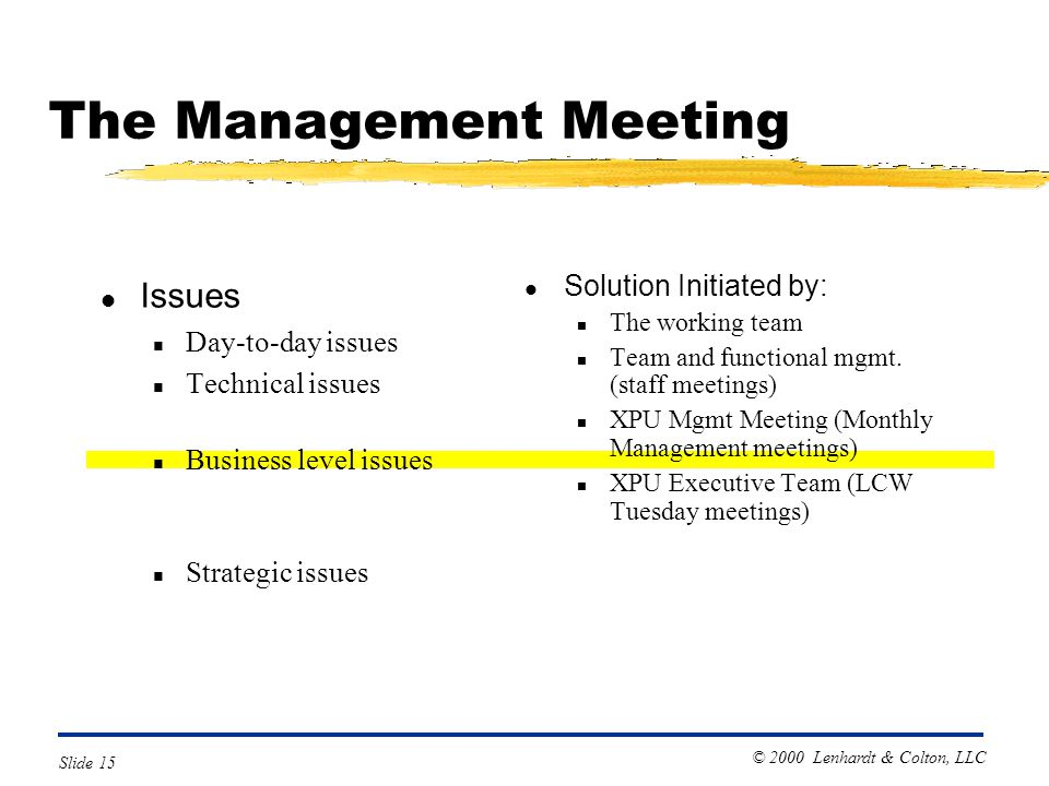 © 2000 Lenhardt & Colton, LLC Slide 15 The Management Meeting l Issues n Day-to-day issues n Technical issues n Business level issues n Strategic issues l Solution Initiated by: n The working team n Team and functional mgmt.