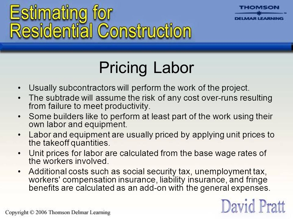 Pricing Subcontractor's Work Pricing subtrade work appears to be easy.