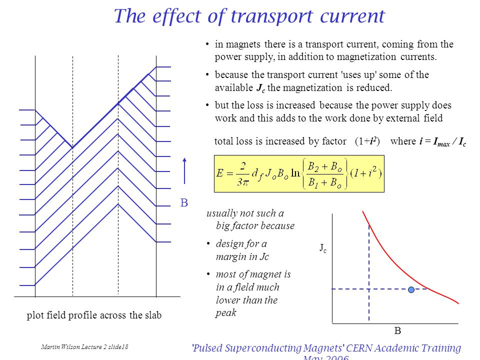 Martin Wilson Lecture 2 slide18 Pulsed Superconducting Magnets CERN Academic Training May 2006 The effect of transport current plot field profile across the slab B in magnets there is a transport current, coming from the power supply, in addition to magnetization currents.