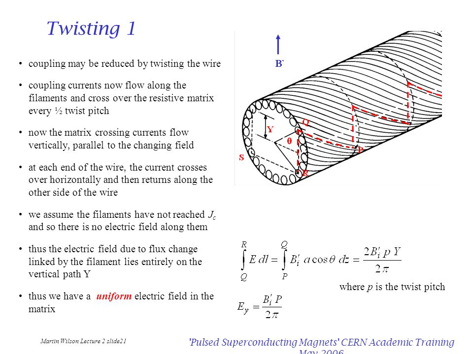 Martin Wilson Lecture 2 slide21 Pulsed Superconducting Magnets CERN Academic Training May 2006 Twisting 1 coupling may be reduced by twisting the wire coupling currents now flow along the filaments and cross over the resistive matrix every ½ twist pitch now the matrix crossing currents flow vertically, parallel to the changing field at each end of the wire, the current crosses over horizontally and then returns along the other side of the wire we assume the filaments have not reached J c and so there is no electric field along them thus the electric field due to flux change linked by the filament lies entirely on the vertical path Y thus we have a uniform electric field in the matrix where p is the twist pitch