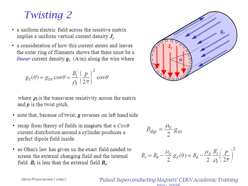 Martin Wilson Lecture 2 slide22 Pulsed Superconducting Magnets CERN Academic Training May 2006 Twisting 2 a uniform electric field across the resistive matrix implies a uniform vertical current density J y a consideration of how this current enters and leaves the outer ring of filaments shows that there must be a linear current density g z (A/m) along the wire where where  t is the transverse resistivity across the matrix and p is the twist pitch.