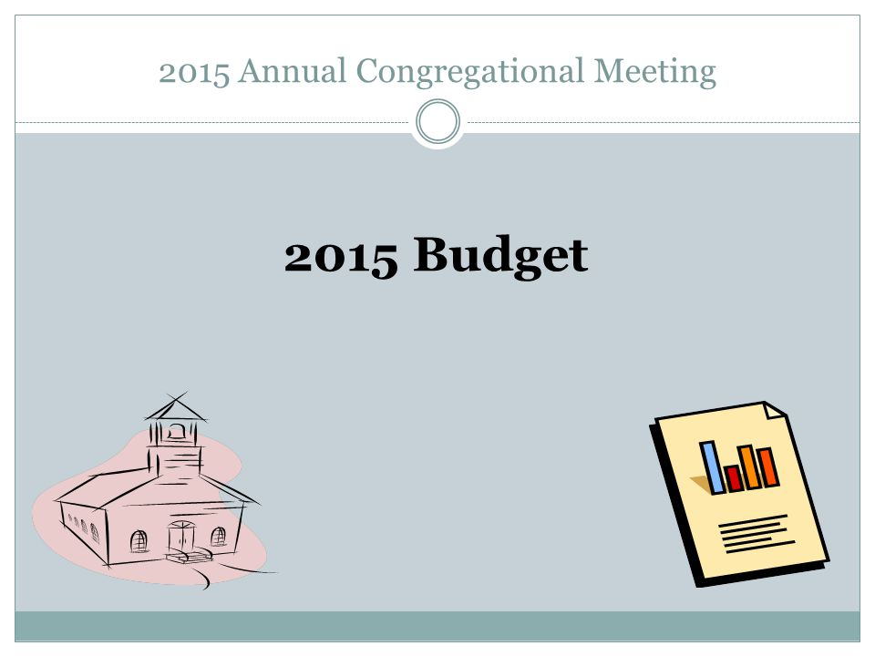 2015 Annual Congregational Meeting 2015 Budget