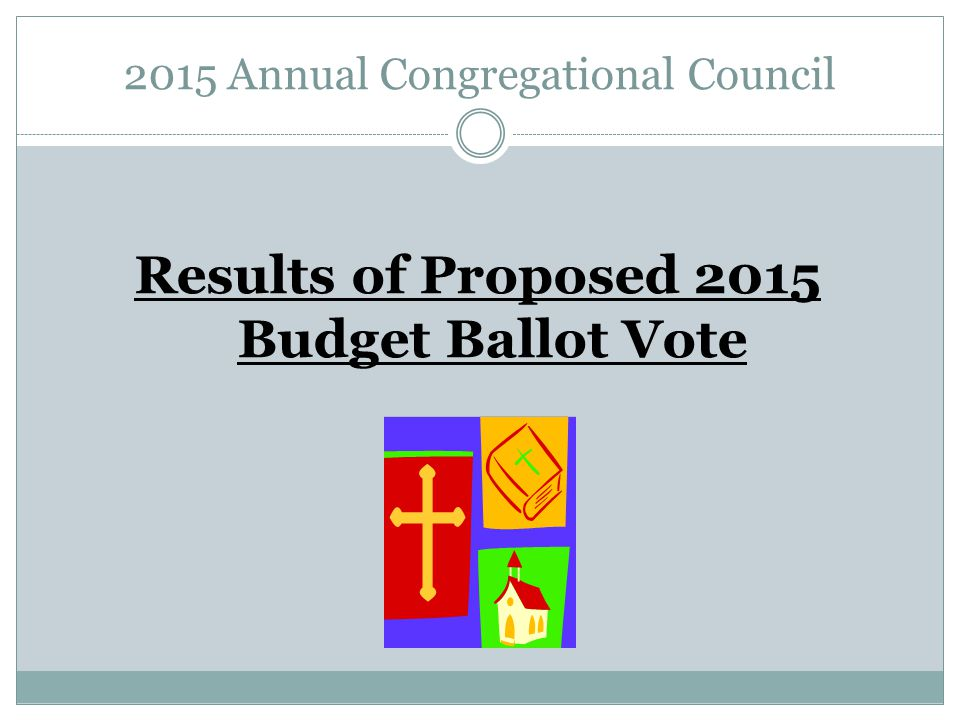 2015 Annual Congregational Council Results of Proposed 2015 Budget Ballot Vote