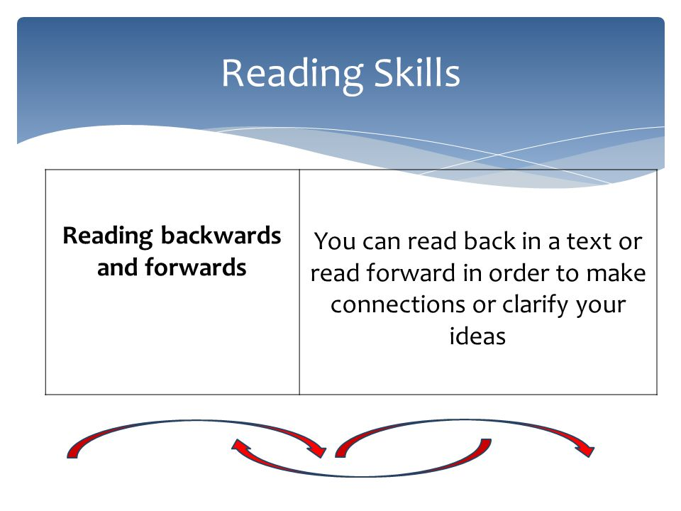 Reading Skills Reading backwards and forwards You can read back in a text or read forward in order to make connections or clarify your ideas