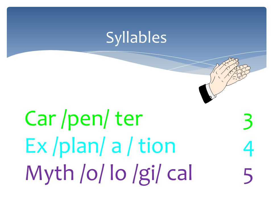 Syllables Car /pen/ ter3 Ex /plan/ a / tion4 Myth /o/ lo /gi/ cal5