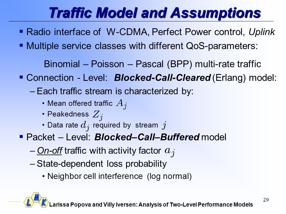 Larissa Popova and Villy Iversen: Analysis of Two-Level Performance Models 29 Traffic Model and Assumptions  Radio interface of W-CDMA, Perfect Power