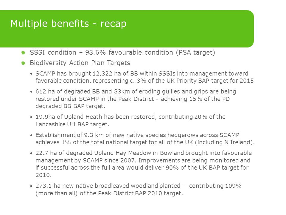 Multiple benefits - recap SSSI condition – 98.6% favourable condition (PSA target) Biodiversity Action Plan Targets SCAMP has brought 12,322 ha of BB within SSSIs into management toward favorable condition, representing c.