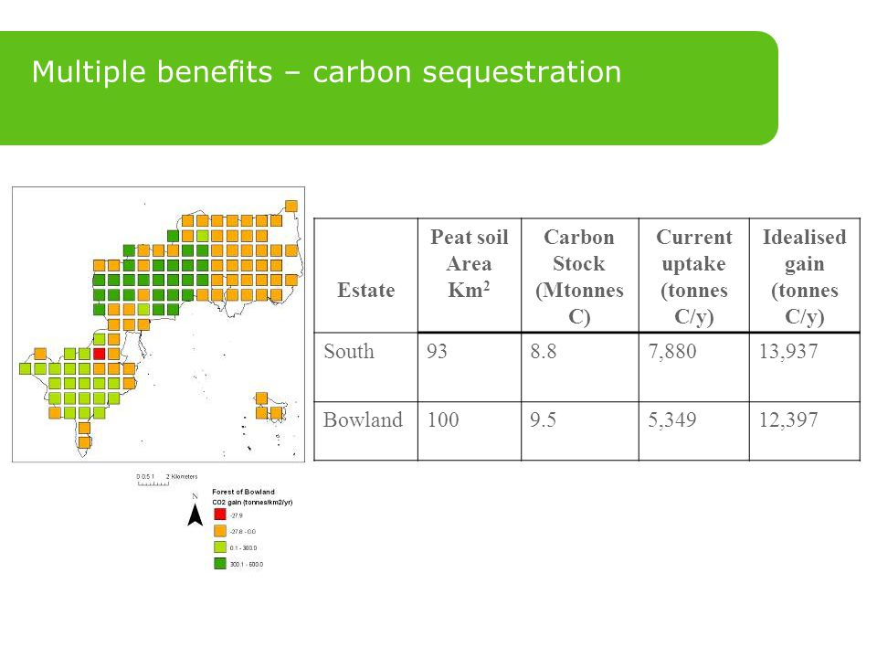 Multiple benefits – carbon sequestration Estate Peat soil Area Km 2 Carbon Stock (Mtonnes C) Current uptake (tonnes C/y) Idealised gain (tonnes C/y) South938.87,88013,937 Bowland1009.55,34912,397