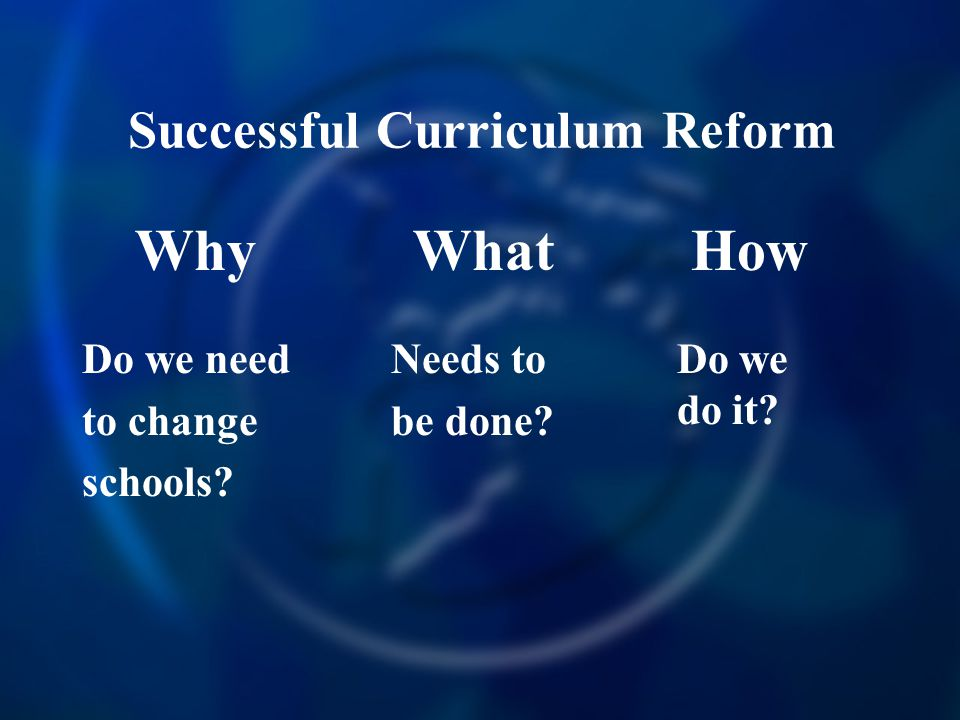 Successful Curriculum Reform Why Do we need to change schools.