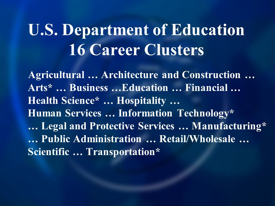 U.S. Department of Education 16 Career Clusters Agricultural … Architecture and Construction … Arts* … Business …Education … Financial … Health Scienc