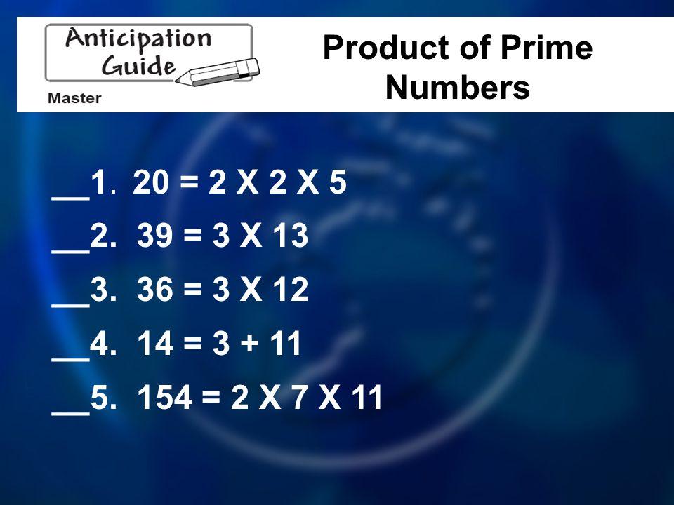 __1. 20 = 2 X 2 X 5 __2. 39 = 3 X 13 __3. 36 = 3 X 12 __4.