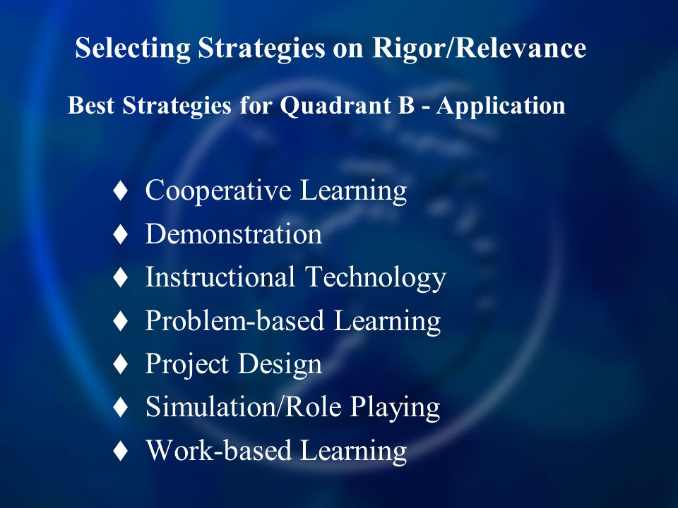Selecting Strategies on Rigor/Relevance  Cooperative Learning  Demonstration  Instructional Technology  Problem-based Learning  Project Design  Simulation/Role Playing  Work-based Learning Best Strategies for Quadrant B - Application