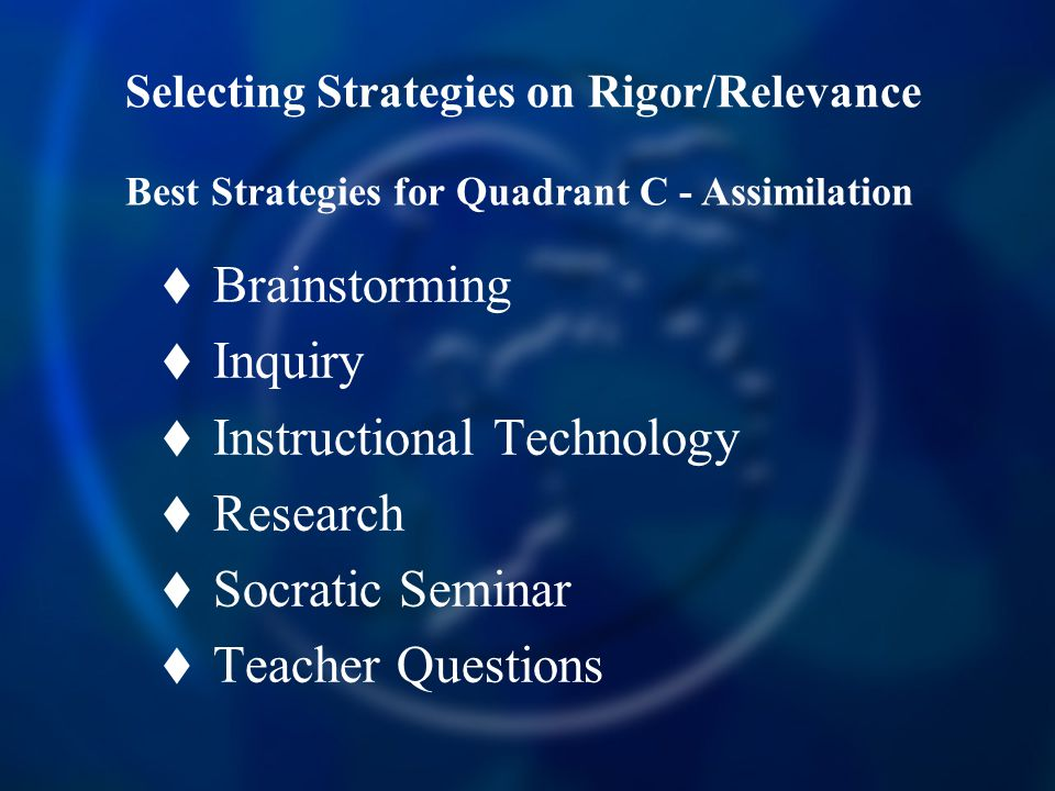 Selecting Strategies on Rigor/Relevance  Brainstorming  Inquiry  Instructional Technology  Research  Socratic Seminar  Teacher Questions Best Strategies for Quadrant C - Assimilation
