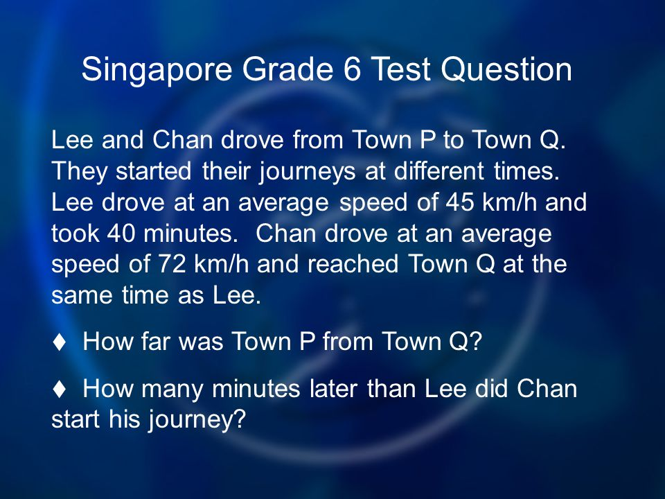Singapore Grade 6 Test Question Lee and Chan drove from Town P to Town Q.