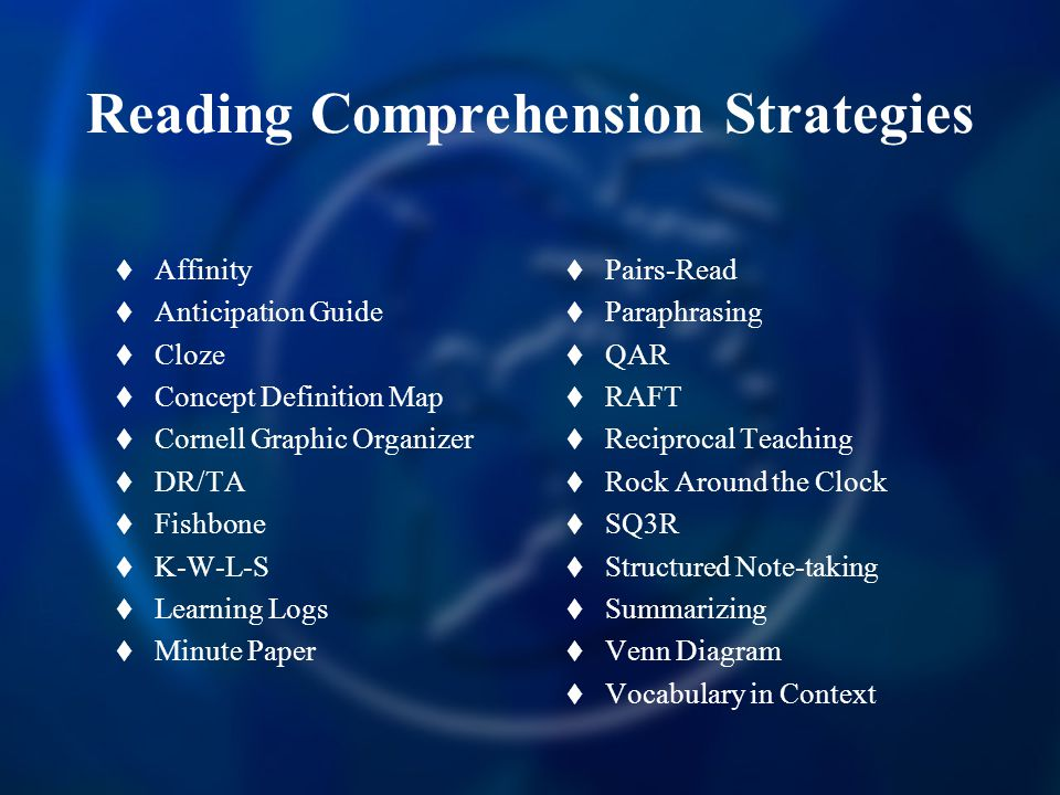 Reading Comprehension Strategies  Affinity  Anticipation Guide  Cloze  Concept Definition Map  Cornell Graphic Organizer  DR/TA  Fishbone  K-W-L-S  Learning Logs  Minute Paper  Pairs-Read  Paraphrasing  QAR  RAFT  Reciprocal Teaching  Rock Around the Clock  SQ3R  Structured Note-taking  Summarizing  Venn Diagram  Vocabulary in Context