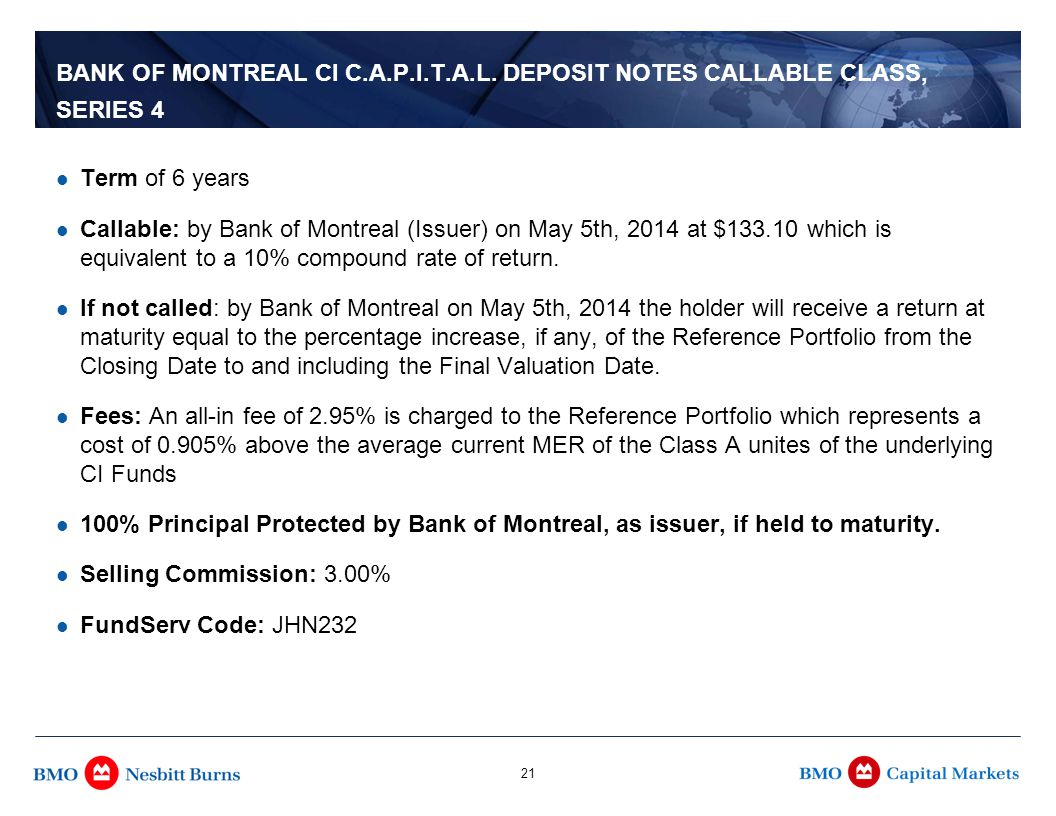 For Advisor Use and Informational Purposes Only 21 BANK OF MONTREAL CI C.A.P.I.T.A.L.