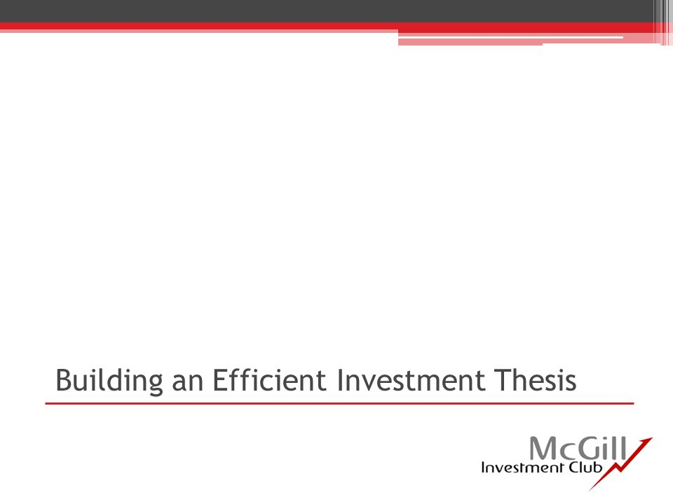 Building an Efficient Investment Thesis
