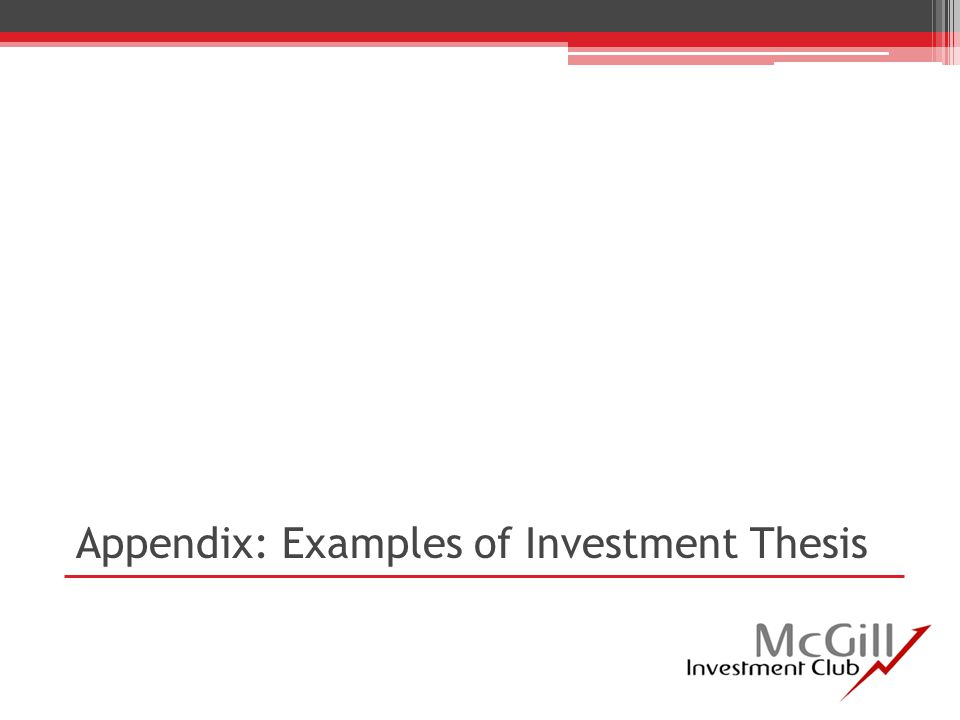 Appendix: Examples of Investment Thesis