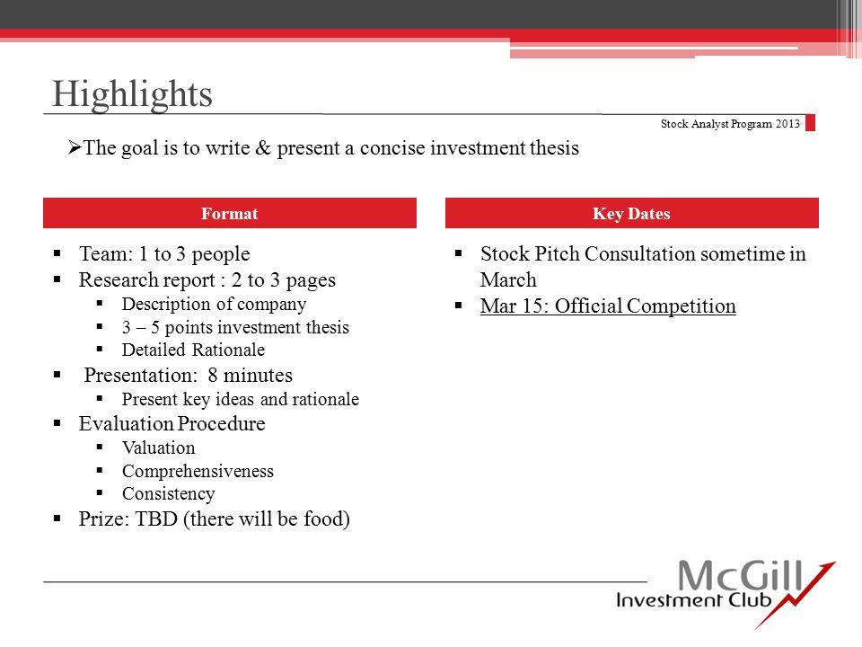 Research Report Evaluation Stock Analyst Program 2013 Evaluation Criteria