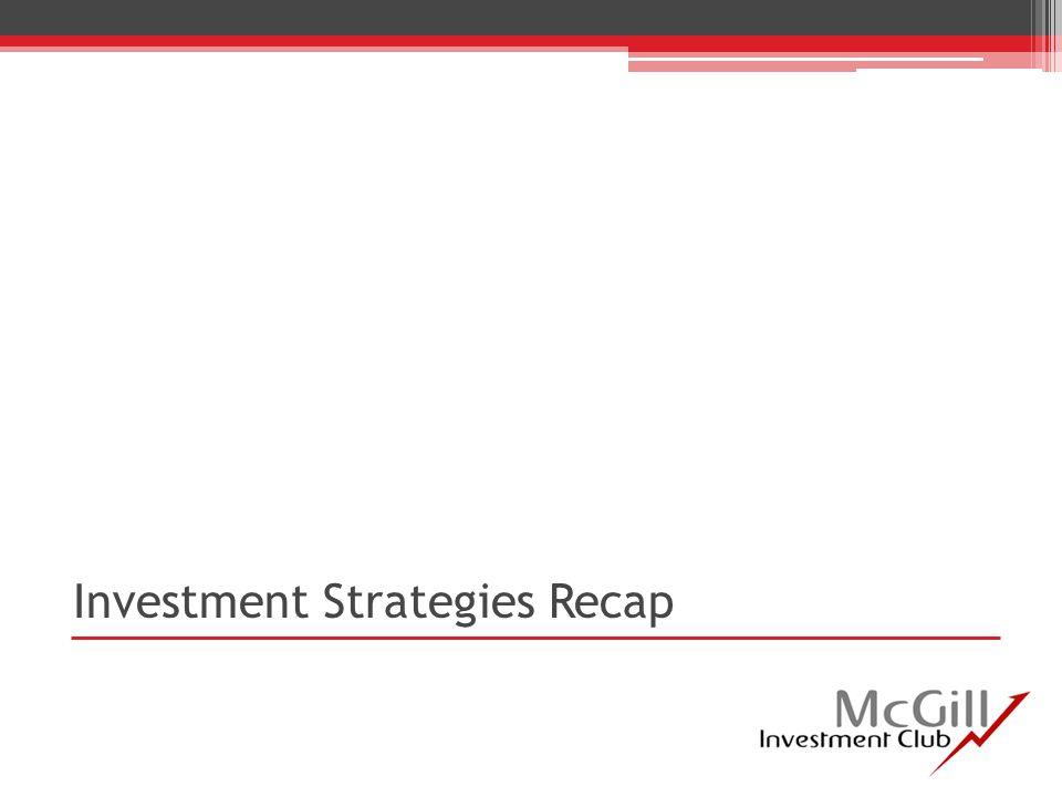 Investment Strategies Recap