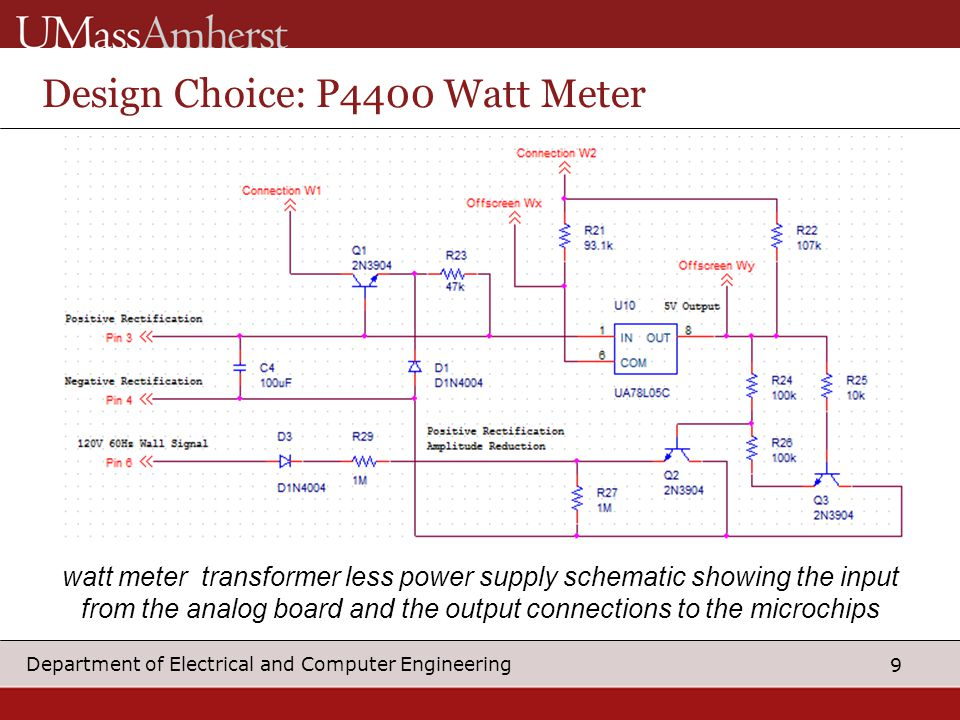 9 Department of Electrical and Computer Engineering Design Choice: P4400 Watt Meter watt meter transformer less power supply schematic showing the input from the analog board and the output connections to the microchips