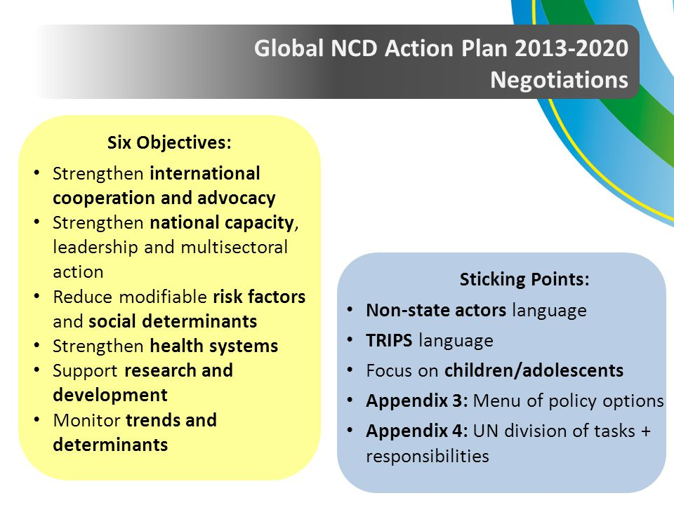 Global NCD Action Plan 2013-2020 Negotiations Sticking Points: Non-state actors language TRIPS language Focus on children/adolescents Appendix 3: Menu