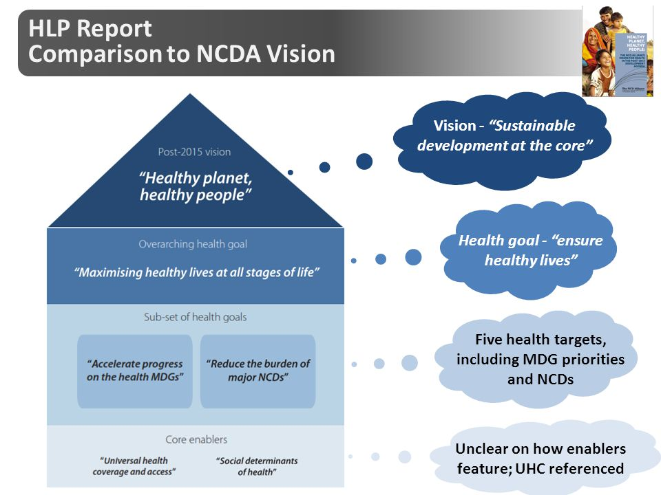 "Vision - ""Sustainable development at the core"" Health goal - ""ensure healthy lives"" Five health targets, including MDG priorities and NCDs Unclear on"