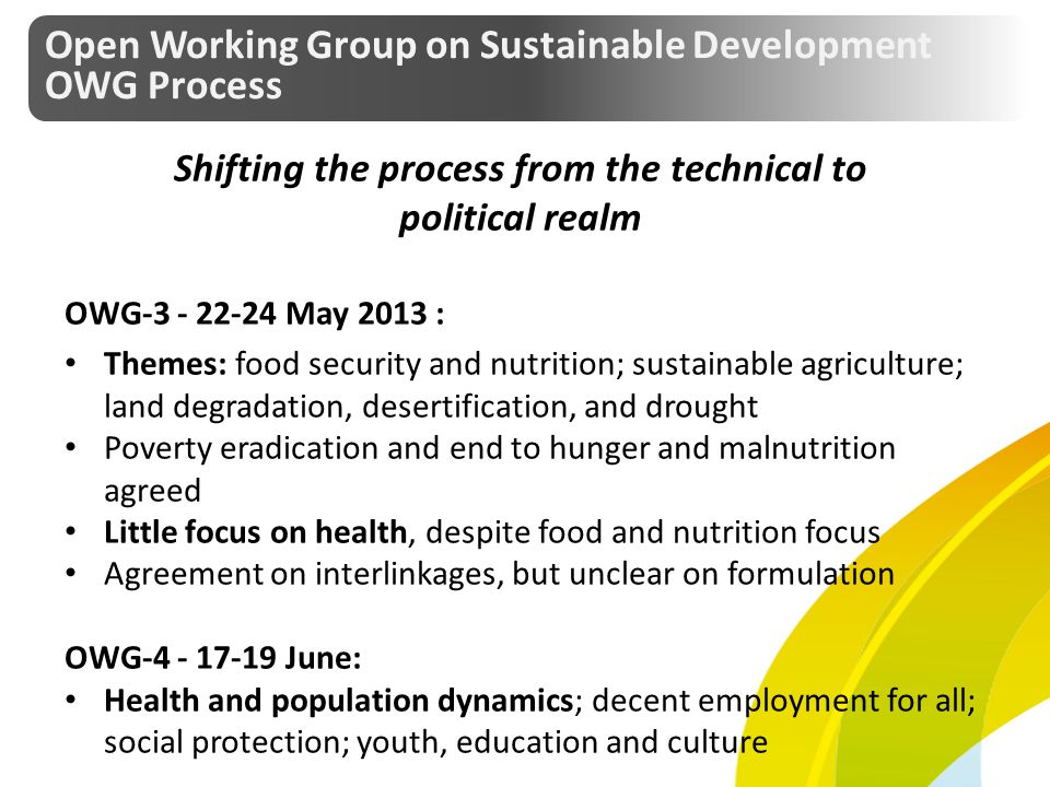 Shifting the process from the technical to political realm OWG-3 - 22-24 May 2013 : Themes: food security and nutrition; sustainable agriculture; land